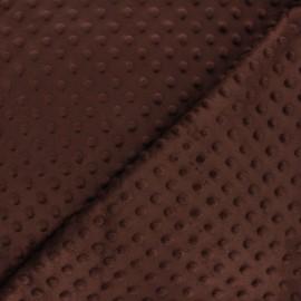 Dotted minkee velvet fabric - brown x 10cm