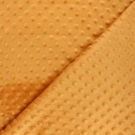 Dotted minkee velvet fabric - mustard yellow x 10cm