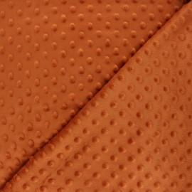 Dotted minkee velvet fabric - rust x 10cm