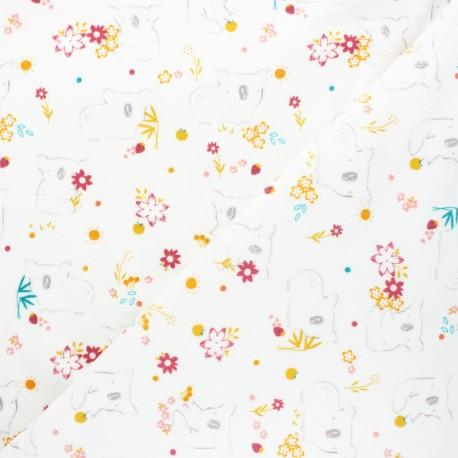 Poppy terry-cloth jersey fabric - off-white Sweet koala x 10cm