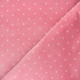 Poppy Terry-cloth jersey fabric - pink Star x 10cm