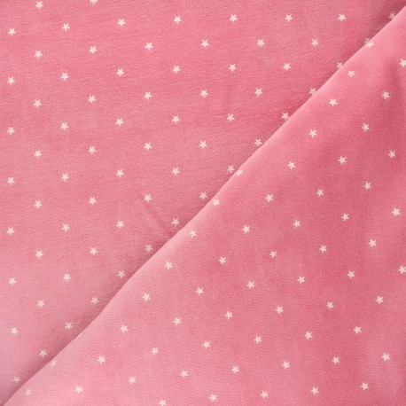Poppy Terry-cloth jersey fabric - pink Star x 10cm