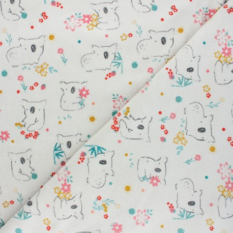 Poppy terry-cloth jersey fabric - light grey Sweet koala x 10cm