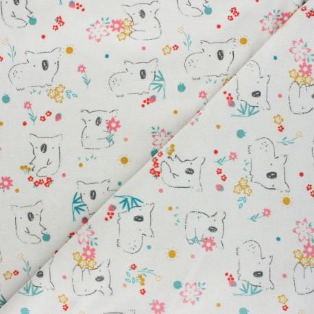 Tissu jersey velours éponge Poppy Sweet koala - gris clair x 10cm