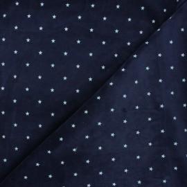 Tissu jersey velours éponge Poppy Star - bleu nuit x 10cm