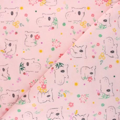 Tissu jersey velours éponge Poppy Sweet koala - rose clair x 10cm