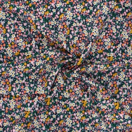 Rayon fabric - navy blue Summer garden x 10cm