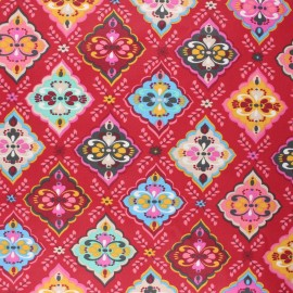 Coated cretonne cotton fabric - red Folk x 10cm