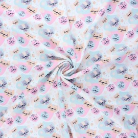 Swimsuit lycra fabric - white Cuty cat x 10cm