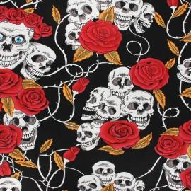Cretonne cotton fabric - black Punky rocky x 10cm
