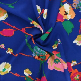 Rayon fabric - roy blue Abstract flowers x 10cm