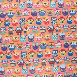 Coated cretonne cotton fabric - coral pink Hiboux d'été x 10 cm