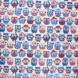 Coated cretonne cotton fabric - white Hiboux d'été x 10 cm