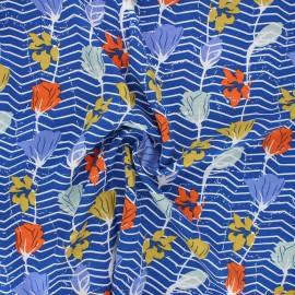Tissu rayonne Striped flower - bleu roi x 10cm