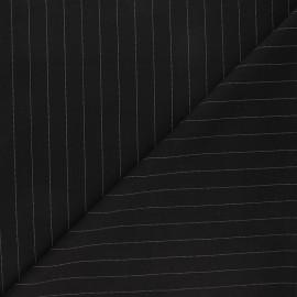 Tissu tailleur élasthanne rayé Wall Street - noir x 10cm