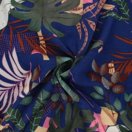Rayon fabric - navy blue Geo leaves x 10cm