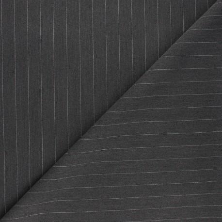 Tissu tailleur élasthanne rayé Wall Street - anthracite x 10cm