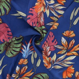 Rayon fabric - navy blue Tropical mood x 10cm