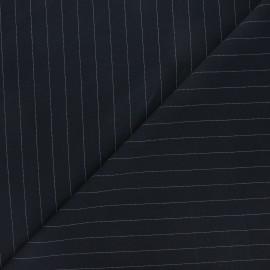 Tissu tailleur élasthanne rayé Wall Street - bleu nuit x 10cm