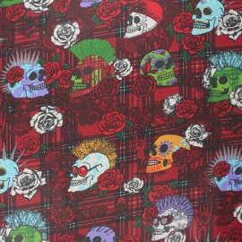 Coated cretonne cotton fabric - red Punky x 10 cm