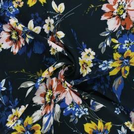 Rayon fabric - petrol blue Bella fiore x 10cm