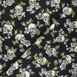 Cretonne cotton fabric - black Butterfly skull x 10cm