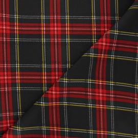 Polyester fabric - black Écossais x 10cm