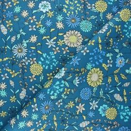 Cretonne cotton fabric - peacock blue Valentine x 10cm