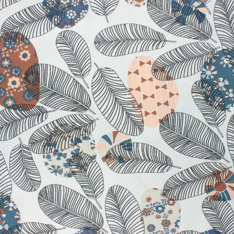 Coated cretonne cotton fabric - brown Ajaccio x 10cm