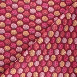 Cretonne cotton fabric - burgundy St Jacques x 10cm