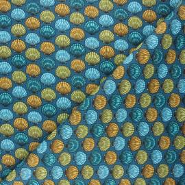 Cretonne cotton fabric - peacock blue St Jacques x 10cm