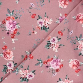 Poppy french terry fabric - rosewood Delicate flowers x 10cm