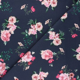 Poppy french terry fabric - night blue Delicate flowers x 10cm