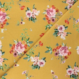 Poppy french terry fabric - mustard yellow Delicate flowers x 10cm