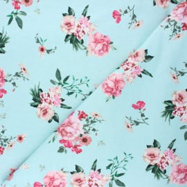 Poppy french terry fabric - celadon Delicate flowers x 10cm
