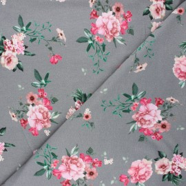 Poppy french terry fabric - mouse grey Delicate flowers x 10cm