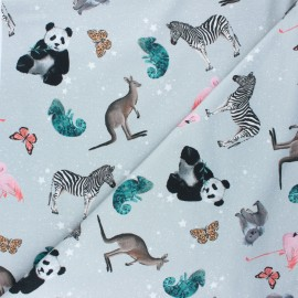 Poppy french terry fabric - light grey Cosmic animals x 10cm