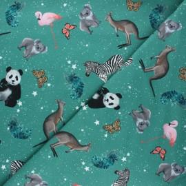 Poppy french terry fabric - green Cosmic animals x 10cm