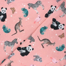 Poppy french terry fabric - tea pink Cosmic animals x 10cm