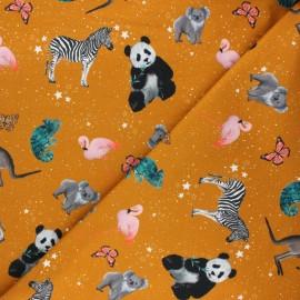 Poppy french terry fabric - mustard yellow Cosmic animals x 10cm