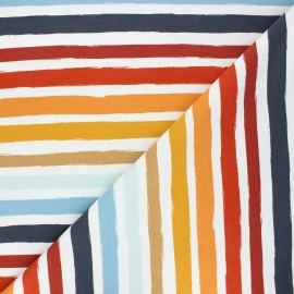 Poppy french terry fabric - white Stripes x 10cm