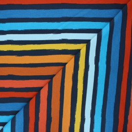 Poppy french terry fabric - blue Stripes x 10cm