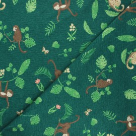 Poppy jersey fabric - pine green Swinging monkeys x 10cm