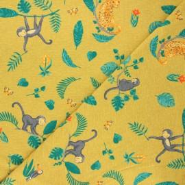 Poppy jersey fabric - curry yellow Swinging monkeys x 10cm
