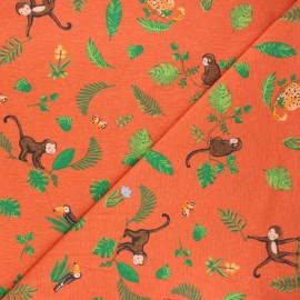 Poppy jersey fabric - orange Swinging monkeys x 10cm