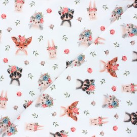 Poppy jersey fabric - white Woodland animals x 10cm