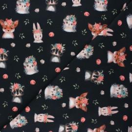 Tissu jersey Poppy Woodland animals - noir x 10cm