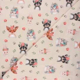 Poppy jersey fabric - sand Woodland animals x 10cm