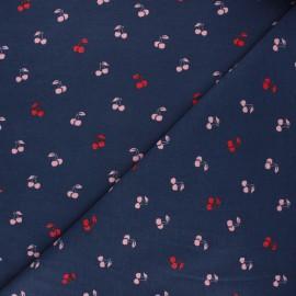 Poppy jersey fabric - night blue Cherry x 10cm