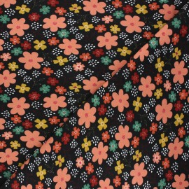 Poppy jersey fabric - black Flowers and hearts x 10cm